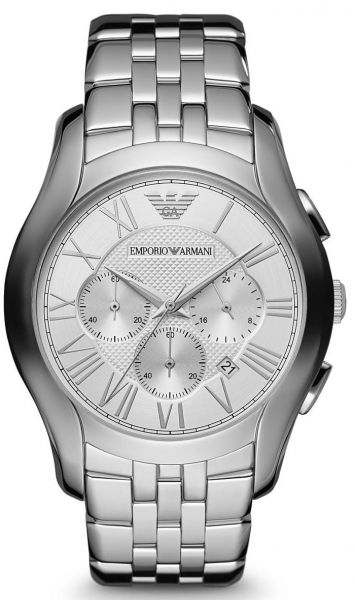 Emporio Armani Classic Men's Silver Dial Stainless Steel Chronograph Watch - AR1702