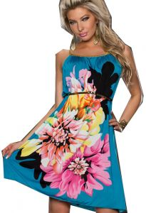 Multi Flowers Ladies Fashion Dress With Belt