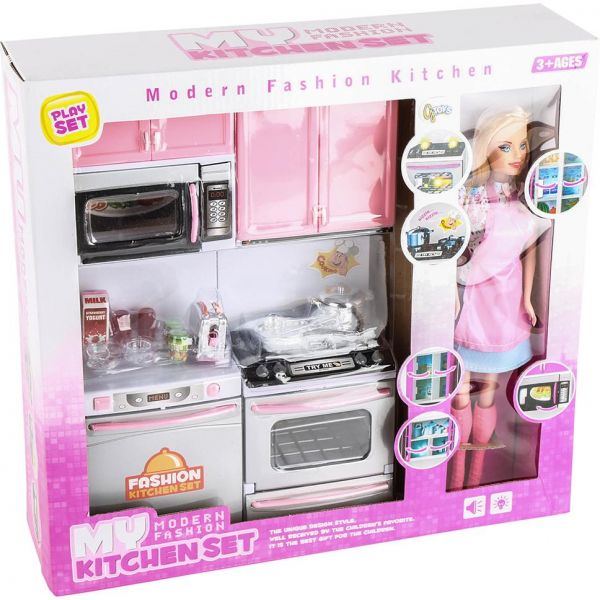 Kitchen Set Of Barbie: Kitchen Set And Barbie, Multi Color , By G Toys