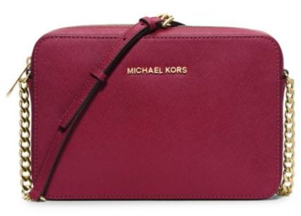 b6dac8141 Michael Kors Jet Set Large Saffiano Leather Crossbody Cherry ...