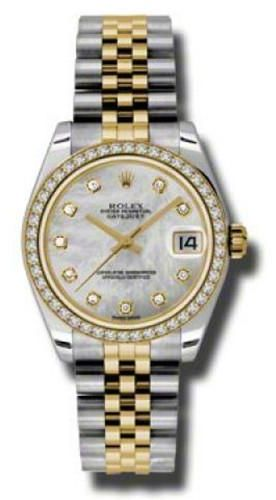 Rolex Oyster Perpetual Datejust Women s Jubilee Diamond Dial 18K Yellow  Gold Stainless Steel Band Automatic Watch - 178383 MDJ  d925050fb