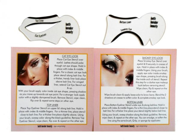 2 Pieces Eye Makeup Tools Cat Eyeliner And Smoky Eye Stencil Kit