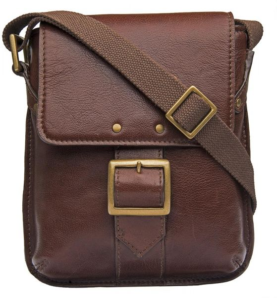 Hidesign Vespucci 01 Small Messenger Bag For Men Genuine Leather Brown