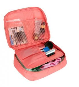 e7012ea75592 Pink Travel Makeup Organizer Necessity Toiletry Cosmetic Bag Storage Pouch  For UnderwearTowel