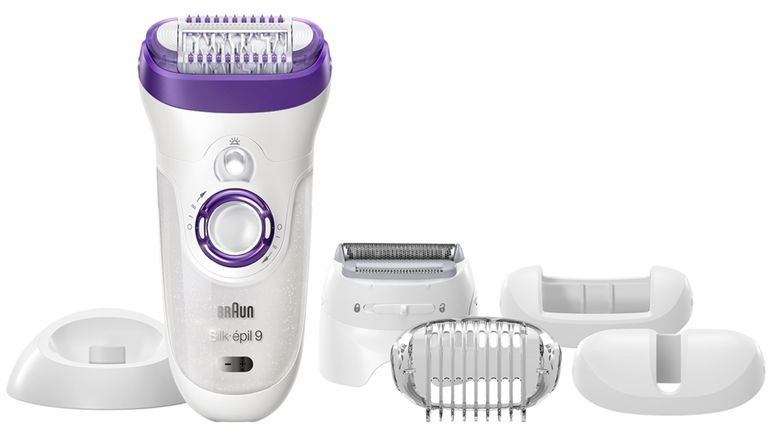 Braun Silk epil 9 9-561 - Wet & Dry Cordless epilator with 6 extras including a shaver head and a trimmer cap