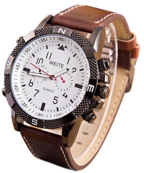 watch quick wrist quartz weite view index leather men rosivga watches