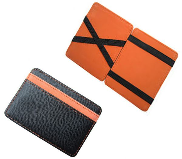 designer wallet with money clip jdg6  PU leather magic wallets fashion designer men money clip Black and orange