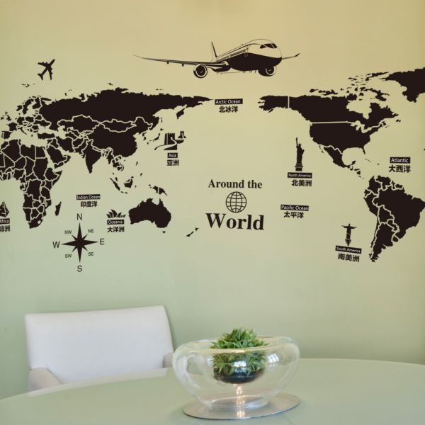 Creative Global Travel World Map Sticker Living Room Diy Art Wall Decals Part 58