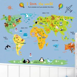 World map zooyooicanvasartthe decal guru uae souq cartoon world map diy wall stickers art decor mural room decal decals sticker gumiabroncs Images