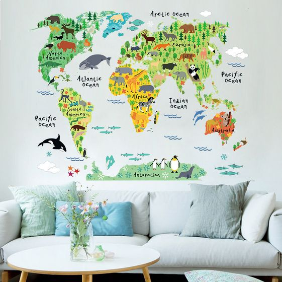 Animal world map bedroom living room background wall stickers price animal world map bedroom living room background wall stickers gumiabroncs Image collections