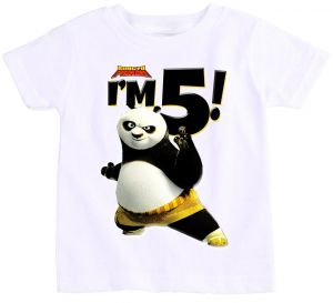 2ba92051 Princesses R Us Kung Fu Panda With ''I'M 6'' Birthday T-Shirt For Boys - 6  To 7 Years, White