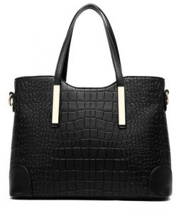 590b9ee7ca Lady women crocodile PU leather Tote handbag Fashion two pieces suit  Multifunction YY20 blcak