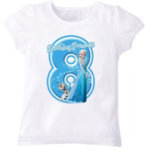 Disney Princess Elsa Of Frozen With Birthday And Number 8 Puff Sleeve T Shirt