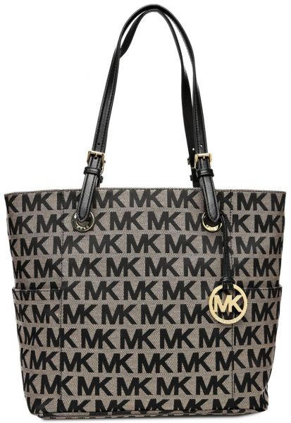 11c64718de2f Michael Kors 30S11TTT4J-009 Jet Set Monogram Logo Tote Bag for Women - Brown  | KSA | Souq