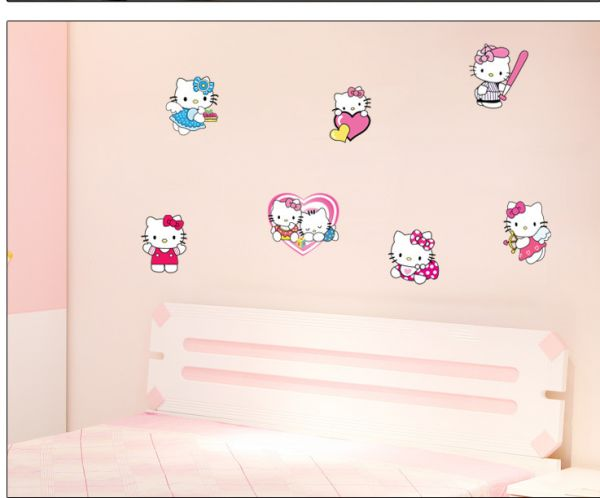 Attractive Hello Kitty Wall Stickers Removable For Living Room Bedroom Home Decoration Wall  Decal