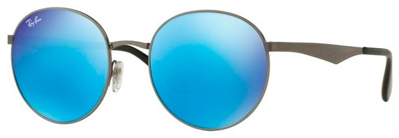 d91b15c2f1d24 Ray-Ban Men Round Sunglasses-Gunmetal Frame -Blue Mirror Lens ...