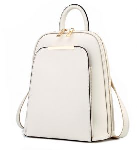 White Women Leather Backpack School Bags Satchel Travel Bag Las For