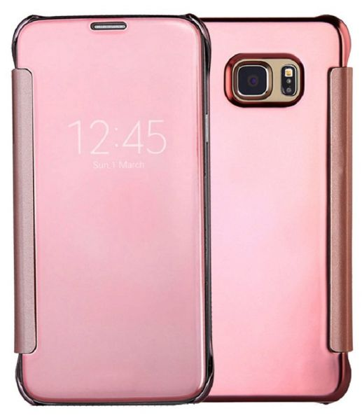 clear view flip cover for samsung galaxy s7 rose gold screen protector price review and. Black Bedroom Furniture Sets. Home Design Ideas