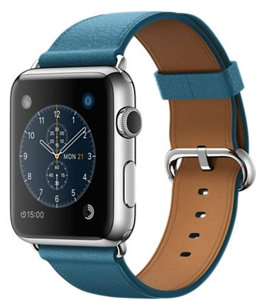 info for b8549 772f4 Apple Watch Series 1 - 42mm Stainless Steel Case with Marine Blue Classic  Buckle Leather Band, MMFU2