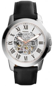 f3fc165fc85 Fossil Grant Men s Silver Dial Leather Band Automatic Watch - ME3101