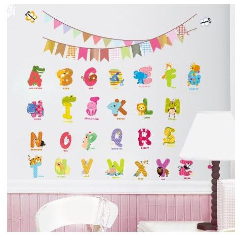 26 english alphabet decorative wall stickers for children bedroom
