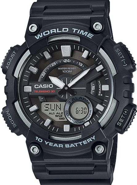 Casio AEQ-110W-1AV Analog Digital Resin Band Black Mens Watch