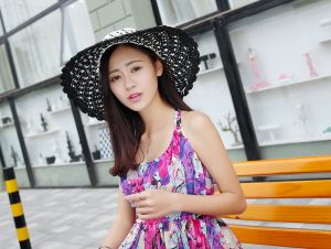 fda88d2b115 Female Summer colour straw hat Handmade crochet bow tie along the sun hat  beach cap M8014-1