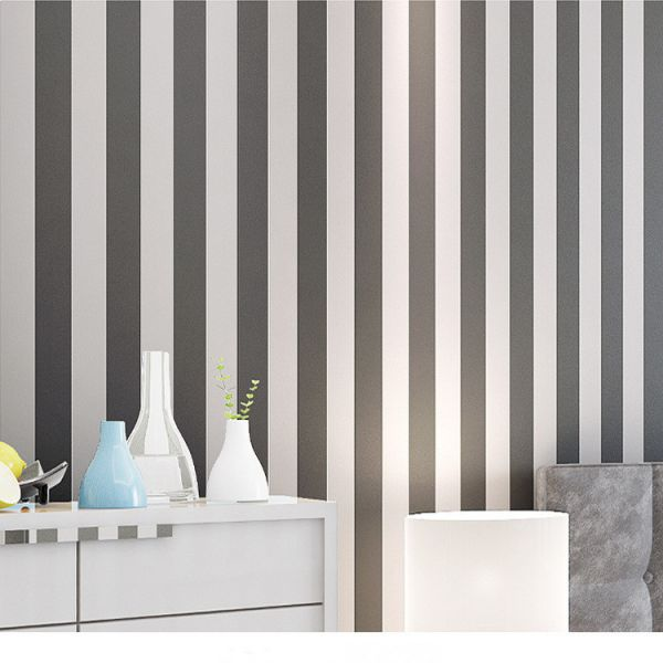 Dark Grey And White Vertical Stripes Wallpaper Mediterranean Style