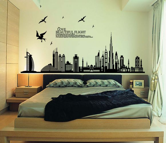 Diy Wall Stickers Dubai Landscape Building Living Room Wall Decals - Wall decals dubai