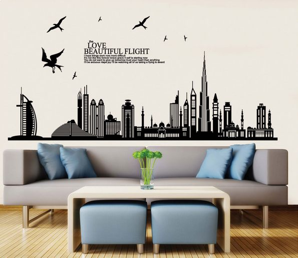 Diy Wall Stickers Dubai Landscape Building Living Room Wall Decals Wallpaper