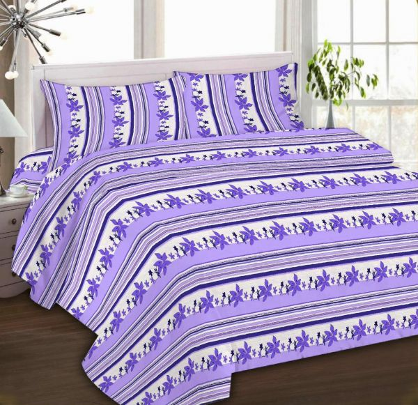 IBed Home Printed Bedsheets 3Piece Bedding Sets King Size, EAT 4493 LILAC