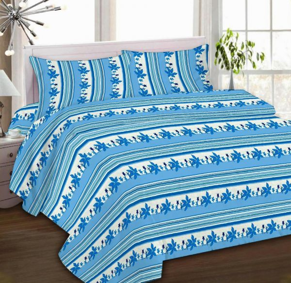 IBed Home Printed Bedsheets 3Piece Bedding Sets King Size, EAT 4493 BLUE