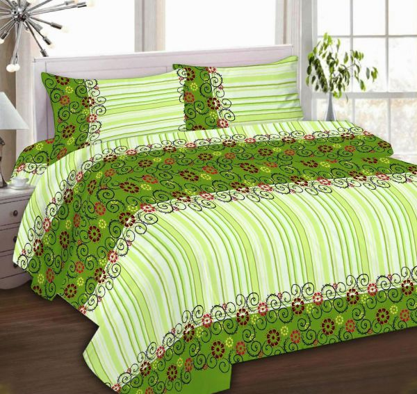 IBed Home Printed Bedsheets 3Piece Bedding Sets King Size, EAT 4518 GREEN