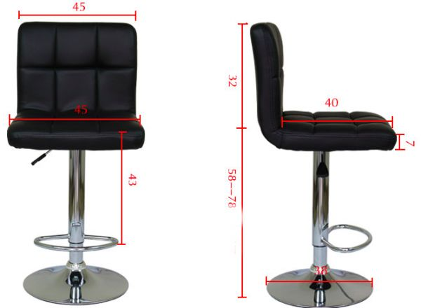 Bar Chair Office Stool Leather Adjule Black