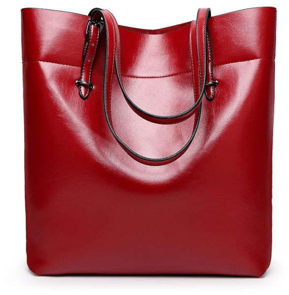 bbc42e659497 Fashion Red Leather Shoulder Bag For Women Trendy Elegant Tote Bag ...