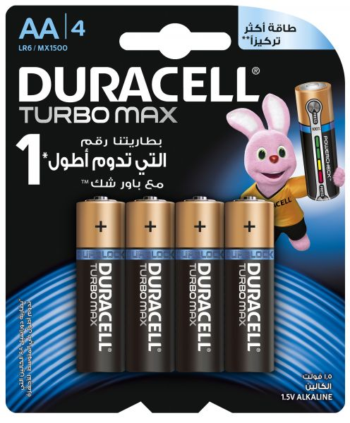 Duracell Turbo Max AA Alkaline Batteries - 4 Counts | Souq