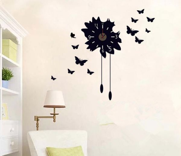 High Quality Black Butterfly Wall Stickers Clock Creative Clock Decals Removable Home  Decoration Great Pictures