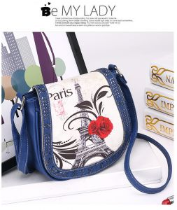 Fashion Blue Leather Shoulder Bag Eiffel Tower Pattern Crossbody Bag Summer  Style Hollow HandBag