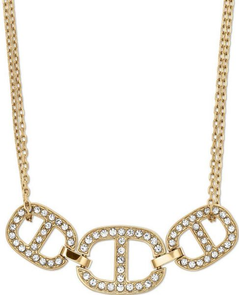 necklace product crystal pink tone lyst rose circle pendant open jewelry goldtone kors normal michael gold metallic in