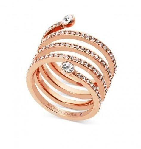 bbd81095802b2 Michael Kors Women s Rose Gold Plated Pave Coil Ring