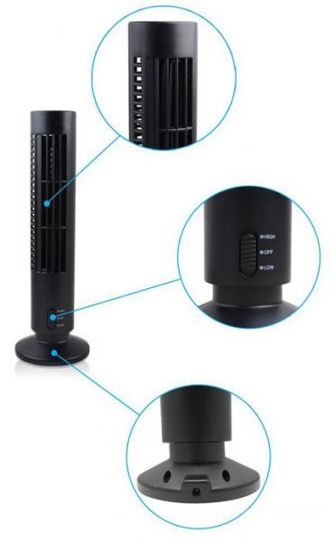 Black Usb Mini Tower Desk Fan Cool Cooling Computer Notebook Office