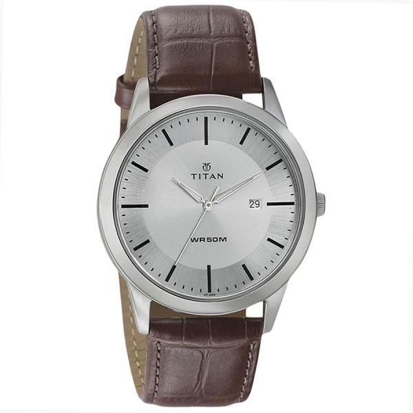 buy titan neo mens silverwhite dial leather band watch