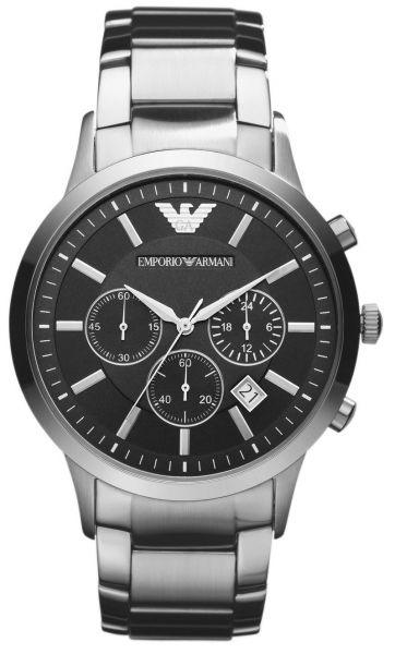 b4ce19ce1 Emporio Armani Classic Men's Black Dial Stainless Steel Band Chronograph  Watch - AR2434