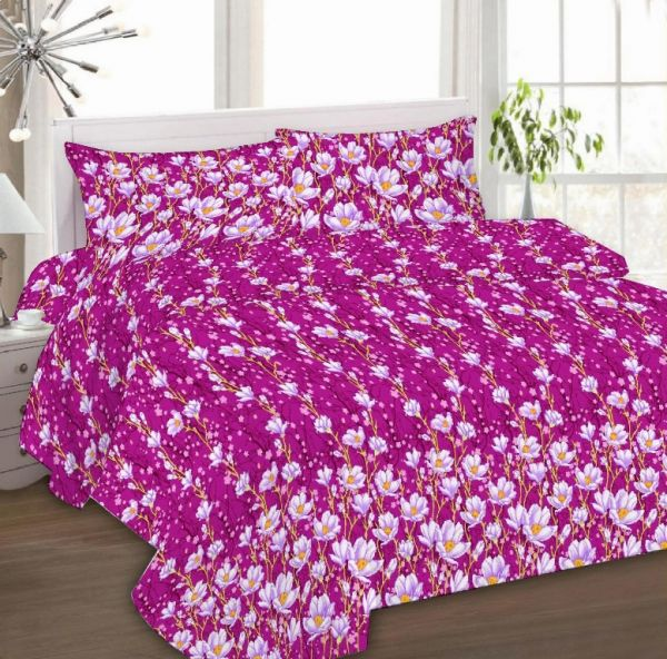 Nice IBed Home Printed Bedsheets 3 Pieces Bedding Set   King Size   EAT 4331  FUSCHIA PINK