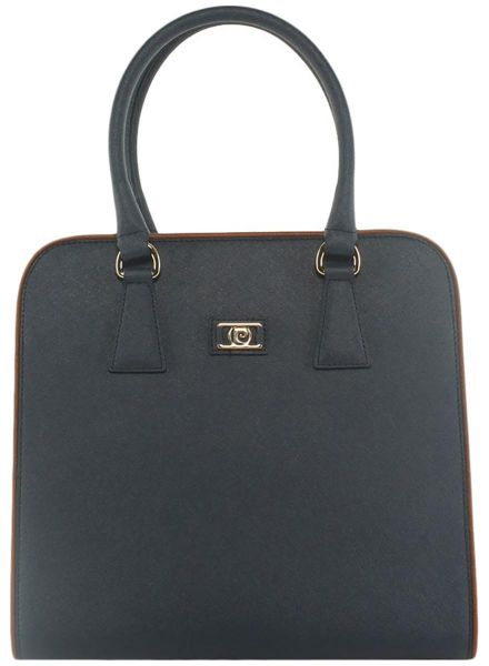 Pierre Cardin Top Handle Bag For Women Leather Navy Blue