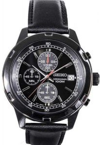 Seiko Black Leather Black Dial Watch For Men S Sks439