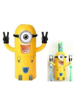 minions design set toothbrush holder automatic toothpaste dispenser with brush cup - Bathroom Accessories Dubai