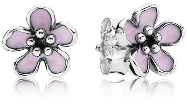 Pandora Womens Sterling Silver Pink Cherry Blossom Flower Stud