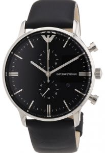 a291c65a861 Emporio Armani Men s Black Dial Leather Band Watch - AR0397