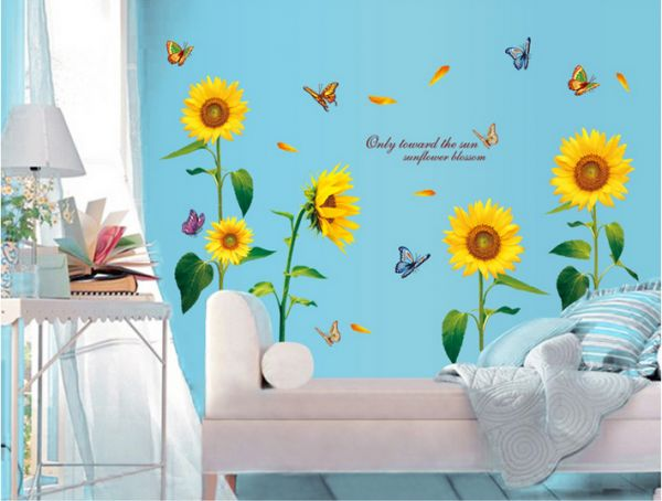 Sunflower Bedroom Flower Removable Wall Stickers Home Decor
